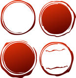 Set of 4 red grunge templates for rubber stamps Royalty Free Stock Image