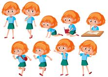 A set of red hair girl stock illustration