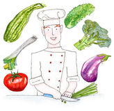 Set of red-haired chef with vegetables - watercolor illustration on white background. Chef chops the grossery and set of vegetables royalty free illustration