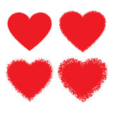 Set of Red Hand Drawn Grunge Hearts Stock Photography