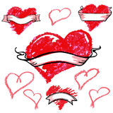 Set of red hand drawn hearts. Vector grunge style collection Royalty Free Stock Photo