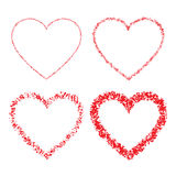 Set of Red Hand Drawn Linear Grunge Hearts Royalty Free Stock Images