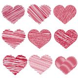 -2Set of red handdrawn hearts for Valentine`s day. Vector stock illustration