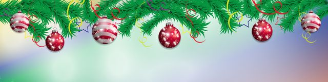 Set red hanging Christmas baubles on a background of fir branches. Christmas decoration elements for holiday design. Vector. Illustration Royalty Free Stock Photos