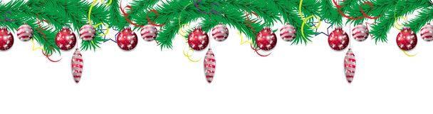 Set red hanging Christmas baubles on a background of fir branches. Christmas decoration elements for holiday design. Vector. Illustration Stock Images
