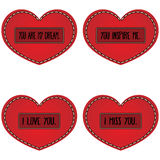Set of red heart with different types of romantic confession in Stock Photos