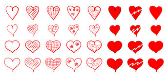Set of red heart icons for Saint Valentine`s Day Stock Photography