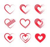 Set of red Heart logos royalty free illustration