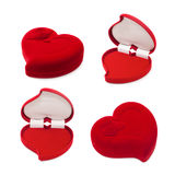 Set of red heart-shaped gift box isolated on white Royalty Free Stock Photo