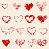 Set of red heart sketch Royalty Free Stock Photography