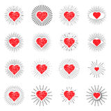 Set red heart sunburst templates for labels Royalty Free Stock Images
