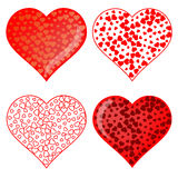 Set of Red Heart Symbolsd Royalty Free Stock Photography