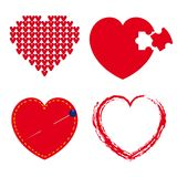 Set of red hearts Stock Images
