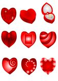 Set of red hearts Royalty Free Stock Photos