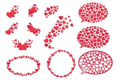Set of red hearts. Collection of stylized hearts with patterns. Symbol of love. Vector illustration for Valentines day. Set of red hearts. Collection of Stock Photo