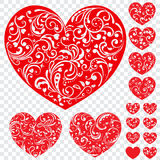 Set of red hearts with curls Stock Photo