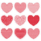 Set of red hearts for design and decoration. Vector illustration Royalty Free Stock Photo