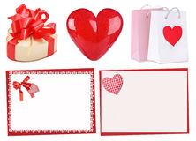 Set of red hearts: gift, heart, cards. St. Valentines Stock Photography