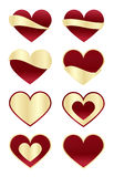 Set of Red Hearts with Gold Labels Stock Photo