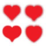 Set of Red Hearts Halftone logo Royalty Free Stock Photo