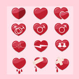 12 set of red hearts icon. 12 set of red hearts vector icon Stock Photos
