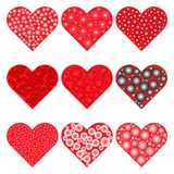 Set of red hearts icons. Vector illustration Royalty Free Stock Photography