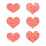 A set of red hearts with inscriptions about love and faces. A set of red hearts with inscriptions about love and faces of cats. Vector image isolated on white Royalty Free Stock Image