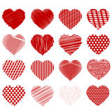Set of Red Hearts. Isolated on White Background Royalty Free Stock Photos