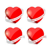 Set of red hearts and ribbons Stock Images