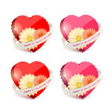 Set of red hearts and ribbons Stock Photos