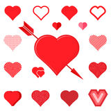 Set of red hearts silhouette icons Royalty Free Stock Photos