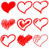 Set of red hearts. Set of red six red hearts with different sketching Royalty Free Stock Photos
