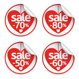 Set red hearts stickers Stock Photo