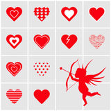 Set of red  hearts. Set of red tiles with  hearts Stock Photography