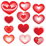 Set of red hearts for Valentine's Day Stock Photos