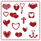 Set of Red Hearts, Valentine's day Vector Royalty Free Stock Photography