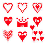 Set of red hearts. On a white background Stock Images