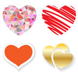 Set of red hearts on a white Royalty Free Stock Photography