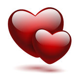 Set of red hearts on a white Stock Photo