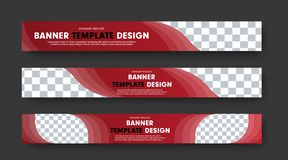 Set of red horizontal web banners with abstract elements for photo and text. Design templates for websites, advertising. Vector illustration royalty free illustration