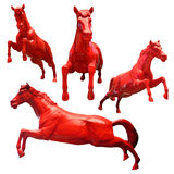 Set of red horses isolated Stock Photo