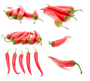 Set of red hot chili peppers Royalty Free Stock Photos