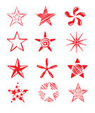 Set of red icons - Star. Vector Icons - a set of abstract red stars royalty free illustration