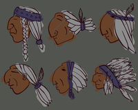 Set of 6 red Indian coloured heads royalty free stock photos