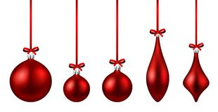 Red isolated Christmas balls set. Royalty Free Stock Images