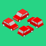 Set of red isometric cars Stock Photography