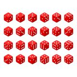 Set of red isometric dice. 24 isometric dice. Twenty-four variants red game cubes isolated on white background. All possible turns authentic collection icons in Stock Images