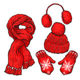 Set of red knotted scarf, hat, ear muffs and mittens Stock Images