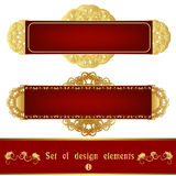 Set of red label with gold filigree ornament Royalty Free Stock Photography