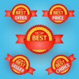 Set of red labels for any purpose Royalty Free Stock Photography